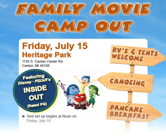 Family Movie Camp Out - July 15 at Heritage Park