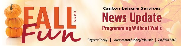 Canton Leisure Services Fall Program Registration Starts Today!