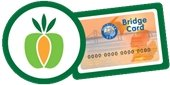 Double Up Food Bucks program logo and an example of what a Bridge Card looks like.