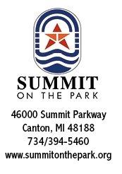 Summit on the Park logo with address 46000 Summit Parkway, Canton, MI  48188 734/394-5460