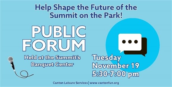 Summit Public Forum to be held on November 19 from 5:30-7:00pm at the Summit.
