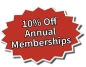 10% Off Annual Memberships