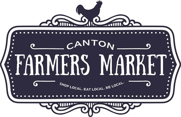 Canton Farmers Market logo that says: Canton Farmers Market - Shop local, eat local, be local