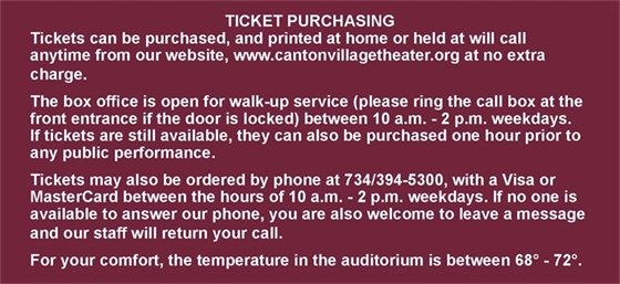 Click to view the Village Theater Ticket Purchasing Policy.