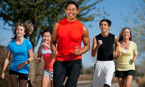 Fit Family Challenge Participants Jogging Together