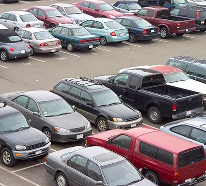 cars in parking lot