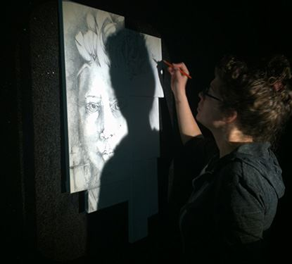 Artist Melissa Sheffer in action
