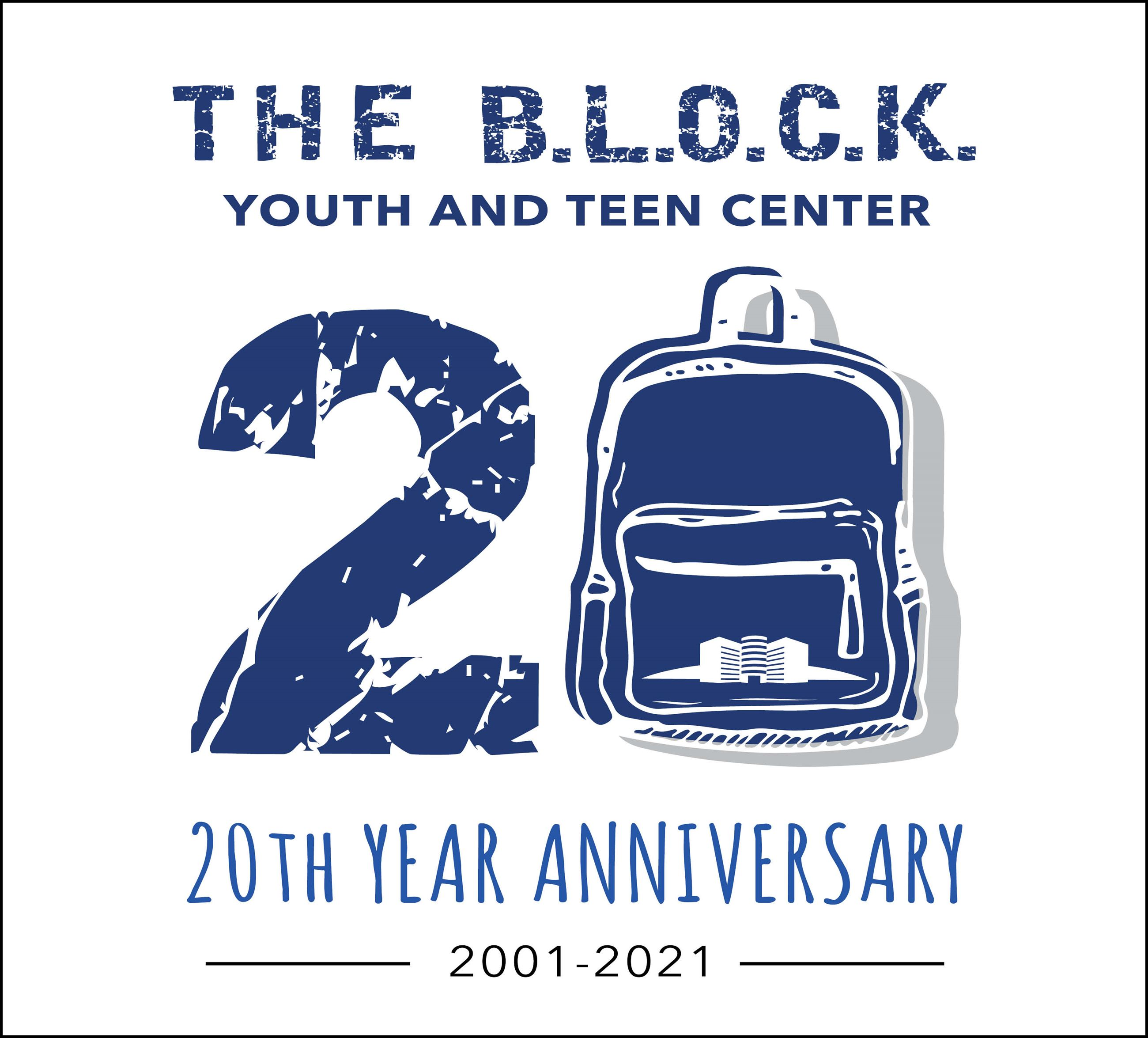 The B.L.O.C.K. Youth and Teen Center 20th Anniversary Logo
